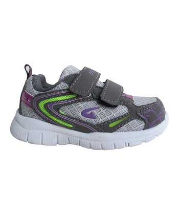 Gray & Purple Bright Double-Strap Sneaker