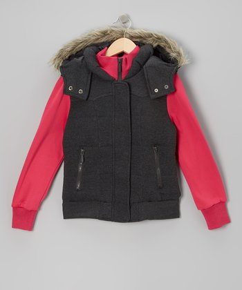 Charcoal & Fuchsia Layered Hooded Jacket - Girls