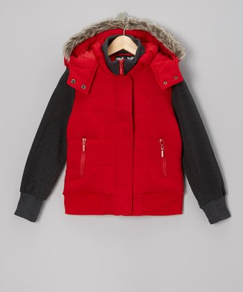 Red Layered Hooded Jacket - Girls