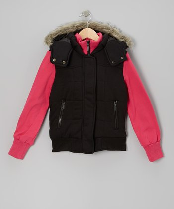 Black & Fuchsia Layered Hooded Jacket - Girls