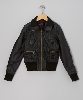 Black Zip-Up Jacket - Toddler & Girls