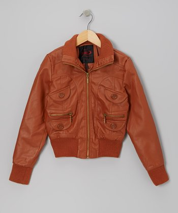 Cognac Zip-Up Jacket - Girls
