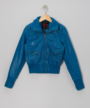 Teal Zip-Up Jacket - Girls