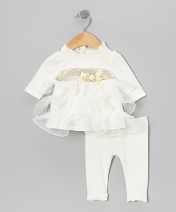 Off-White Ruffle-Tiered Top & Leggings - Infant