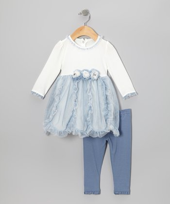 Blue Ruffle Rosette Tunic & Leggings - Infant