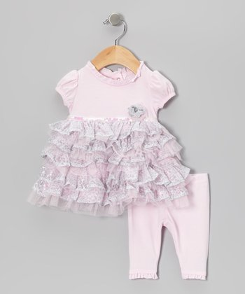 Pink Ruffle-Tier Puff-Sleeve Top & Leggings - Infant