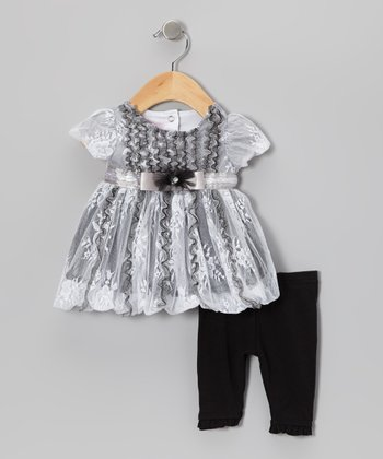 Black & White Lace Puff-Sleeve Tunic & Leggings - Infant
