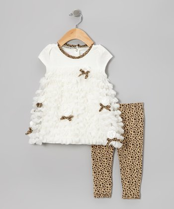 Beige Ruffle Cap-Sleeve Tunic & Cheetah Leggings - Infant