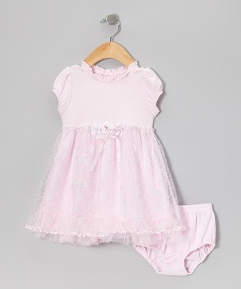 Pink Puff-Sleeve Dress & Diaper Cover - Infant