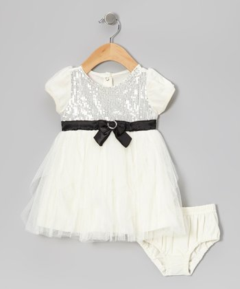 Beige Sparkle Dress & Diaper Cover - Infant