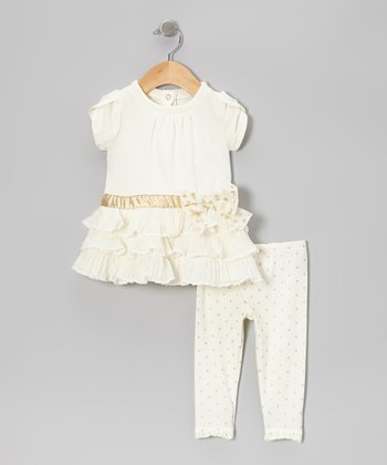 Beige Triple-Tier Tunic & Polka Dot Leggings - Infant