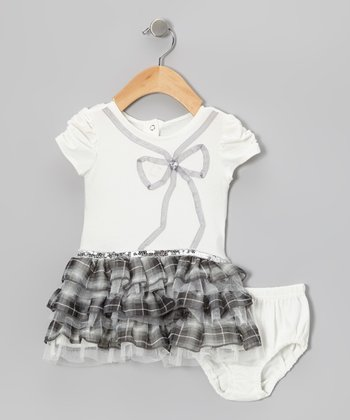 Beige Plaid Tiered Dress & Diaper Cover - Infant