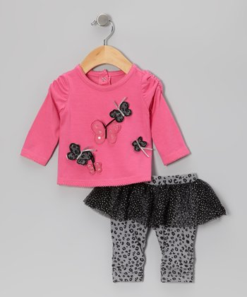 Pink Butterfly Top & Gray Skirted Leggings - Infant