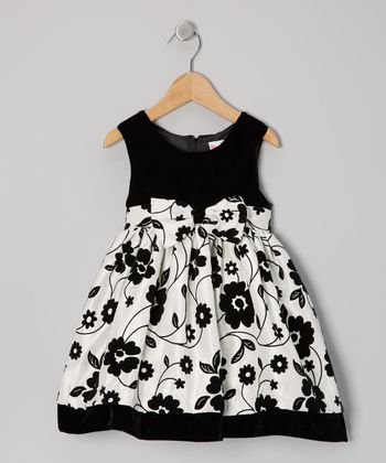 Beige & Black Floral Bow Dress - Toddler
