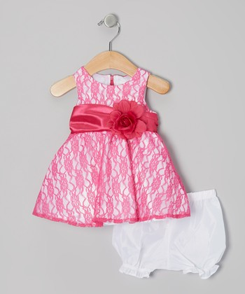 Pink Lace Overlay Dress & White Bloomers - Infant