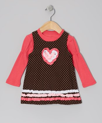 Pink Tee & Brown Ruffle Heart Swing Dress - Infant