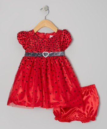 Red Shimmer Dot Puff-Sleeve Dress & Diaper Cover - Infant