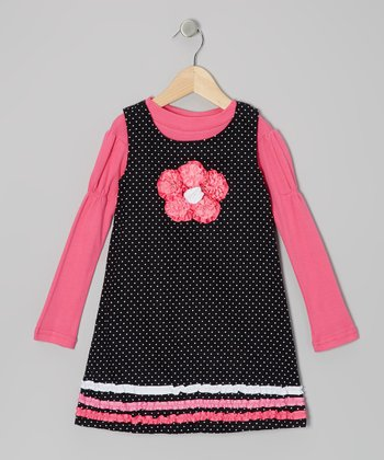 Pink Tee & Black Ruffle-Flower Jumper - Girls