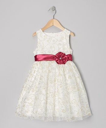 Beige Shimmer Swirl Dress - Girls