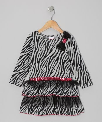 Gray & Black Zebra Tiered Dress - Infant, Toddler & Girls