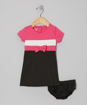 Pink & Black Color Block Shift Dress & Diaper Cover - Infant