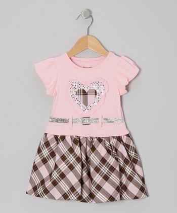 Pink Plaid Belted Puff-Sleeve Dress - Toddler