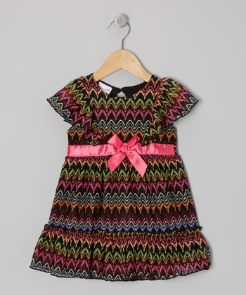 Black & Pink Zigzag Bow Dress - Infant & Girls
