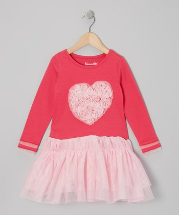 Pink Rosette Heart Tutu Dress - Girls
