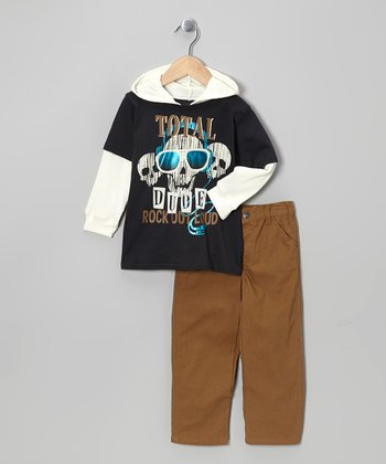 Black Skull Layered Hoodie & Pants - Infant & Boys