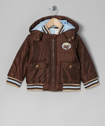 Brown Zip-Up Hooded Puffer Coat - Infant, Toddler & Boys