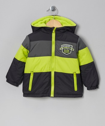 Lime Color Block Hooded Jacket - Toddler & Boys