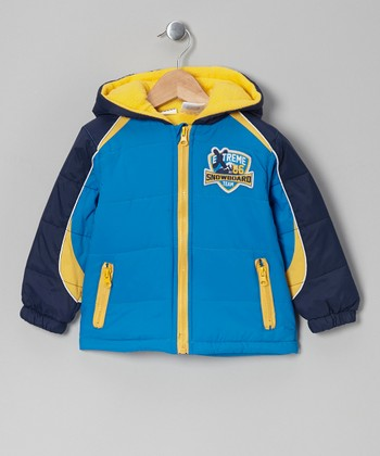 Blue & Yellow Color Block Puffer Coat - Infant, Toddler & Boys