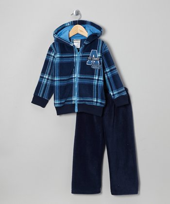 Navy Plaid Fleece Zip-Up Hoodie & Pants - Infant, Toddler & Boys