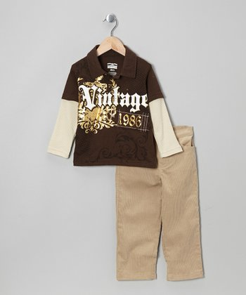 Brown Layered Polo & Khaki Pants - Boys