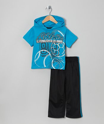 Blue Hooded Tee & Black Track Pants - Toddler