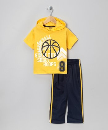 Yellow Hooded Tee & Black Track Pants - Toddler