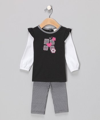 Black Houndstooth Tunic & Leggings - Toddler