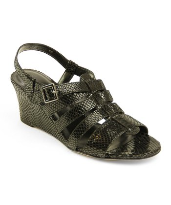 Black Squama Snakeskin Lacee Wedge
