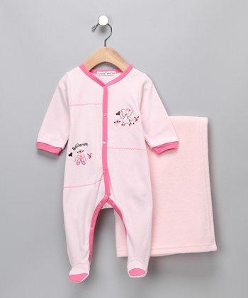 Rumble Tumble Pink Ballerina Bear Footie & Blanket - Infant