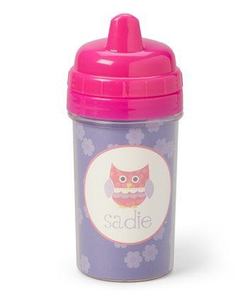 Purple Patchwork Owl Personalized Sippy Cup