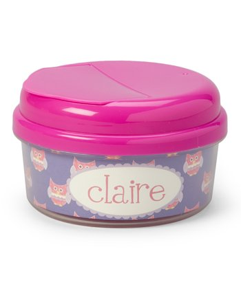Purple Patchwork Owl Personalized Snack Container