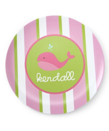 Pink Stripe Whale Personalized Plate