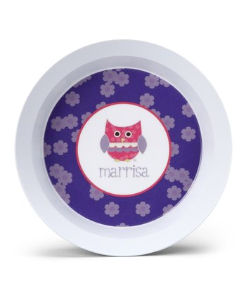 Purple Patchwork Owl Personalized Bowl