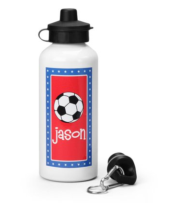 Blue & Red Soccer Personalized Water Bottle