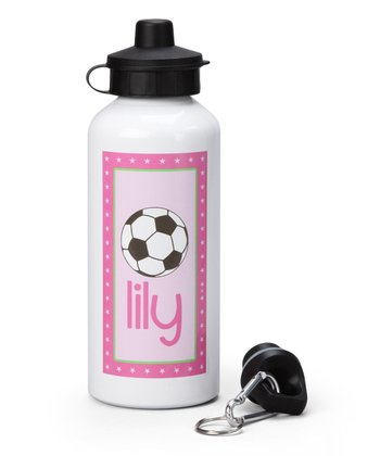 Pink Soccer Personalized Water Bottle