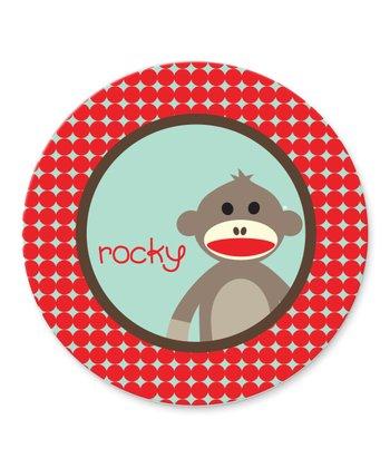 Sock Monkey Personalized Plate