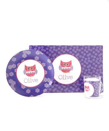 Purple Owl Personalized Tableware Set