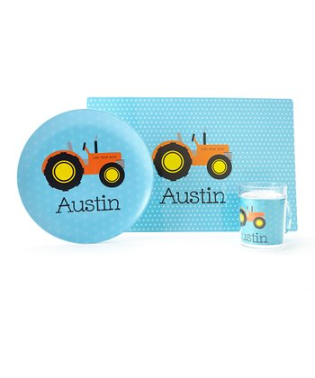 Blue Tractor Personalized Tableware Set