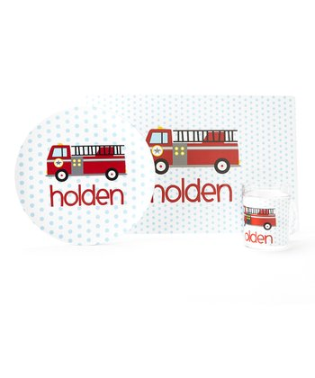 White Fire Truck Personalized Tableware Set