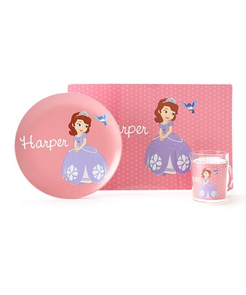 Pink Sophia the First Personalized Tableware Set